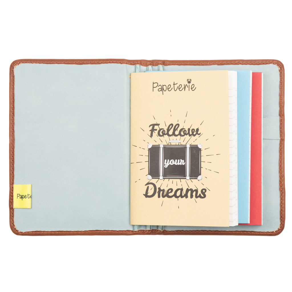 Passport and Book Holder Tan and Light Blue