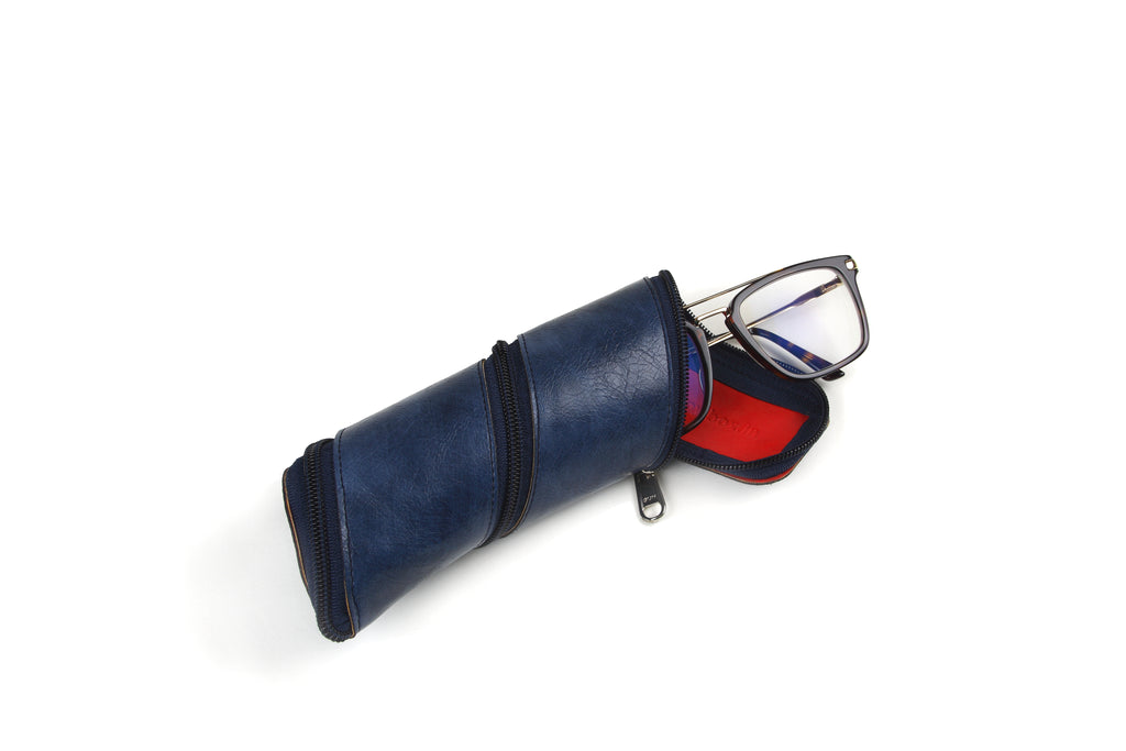 Blue and Red Spiral Pouch