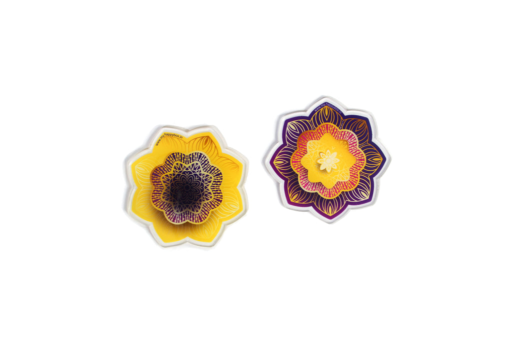 Floral Delight Tea Coasters (Purple and Yellow)