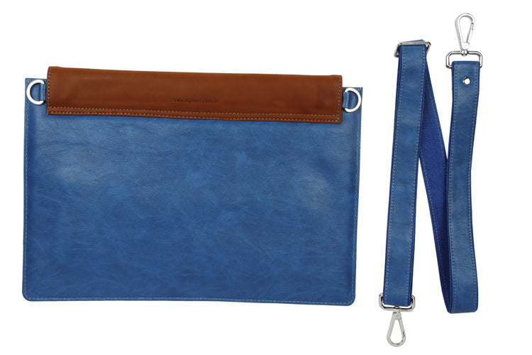 Laptop Sleeves - Moon Emboss - Blue and Tan 13""