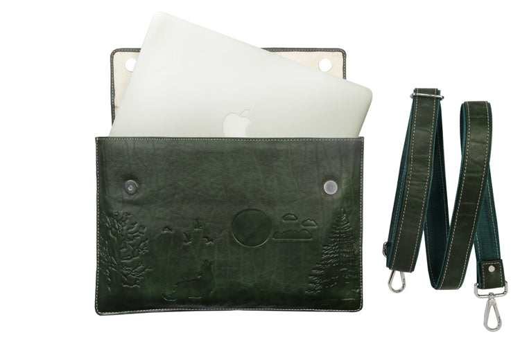 Laptop Sleeves - Moon Emboss - Bottle Green 13""
