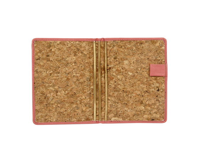 Passport and Book Holder Pink and Cork