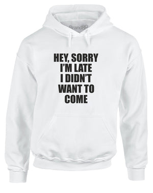 Hey, Sorry I'm Late I Didn't Want To Come | Adults Hoodie