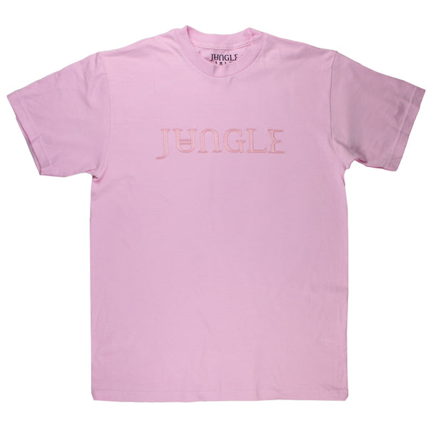 EMBROIDERED JUNGLE LOGO PINK T-SHIRT