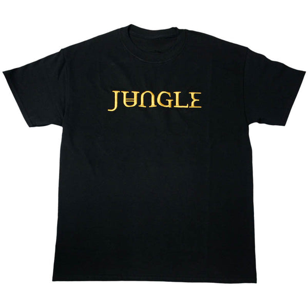 GOLD EMBROIDERED JUNGLE LOGO BLACK T-SHIRT