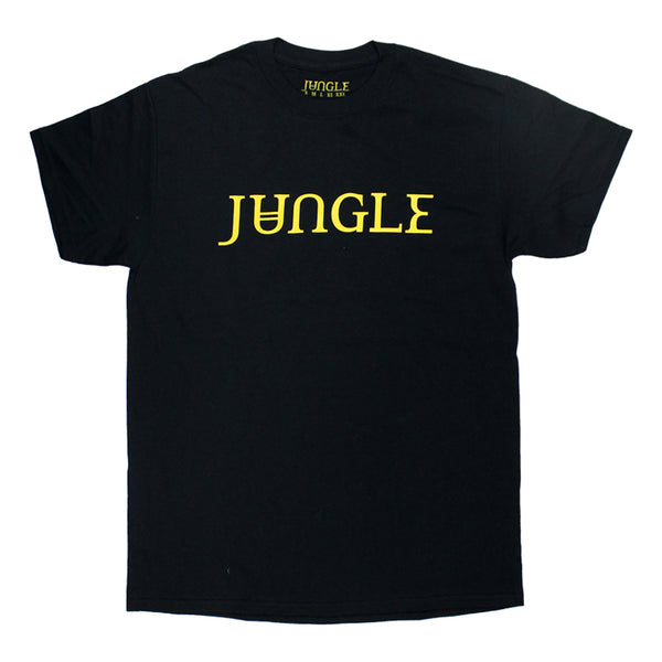 GOLD PRINTED JUNGLE LOGO BLACK T-SHIRT