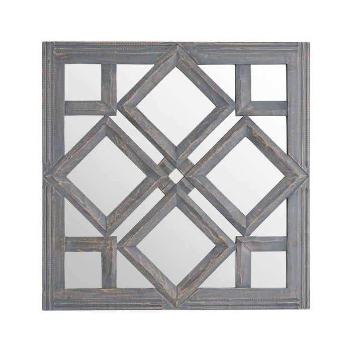 Geometric Diamond Cut Out Wall Mirror - Grey