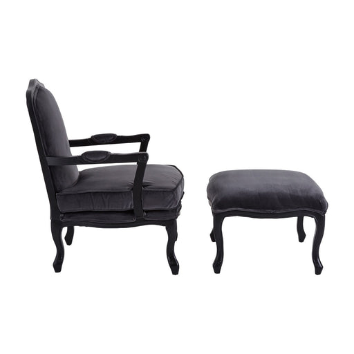 Rocco Chair & Footstool - Dark Grey Velvet - The Furniture Mega Store