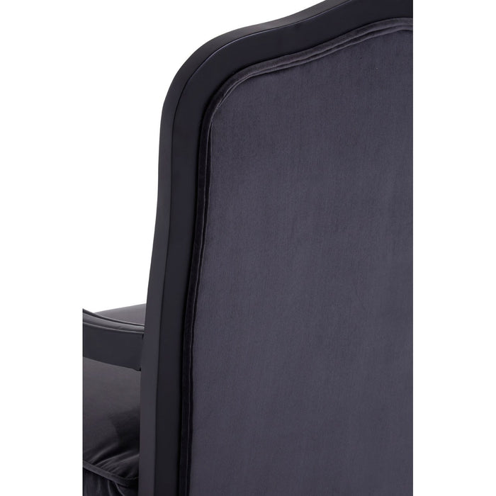 Rocco Chair & Footstool - Dark Grey Velvet