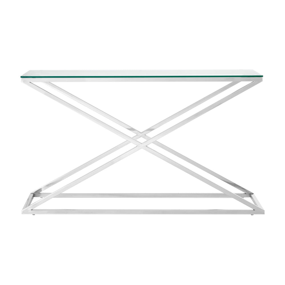 Criss Cross Chrome Console Table
