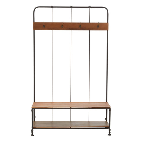 Industrial Bench with Coat Rack