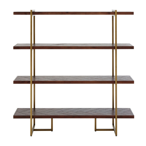Brando Acacia Wood & Antique Brass Bookcase - The Furniture Mega Store