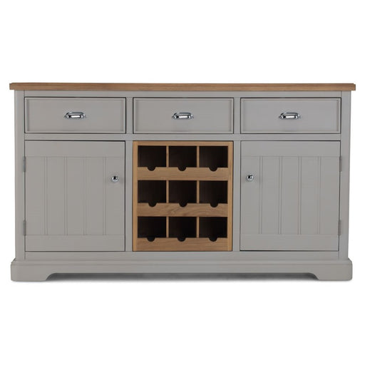 Oak And Grey Painted Large Sideboard With Wine Rack