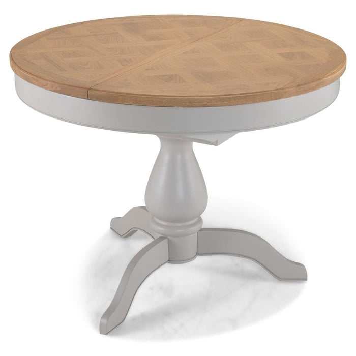 Oak And Grey Painted 110 cm Round to Oval Extending Dining Table
