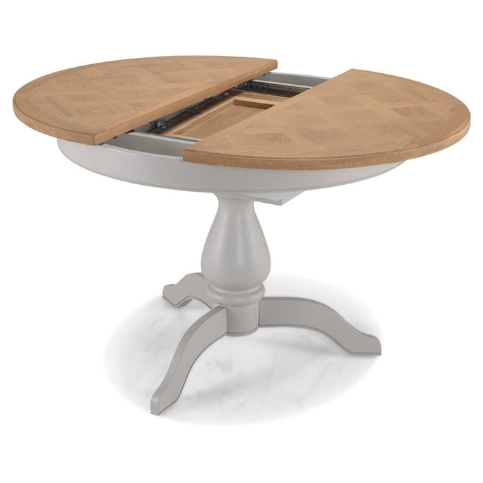 Sunbury Oak And Grey Painted 110 cm Round to Oval Extending Dining Table