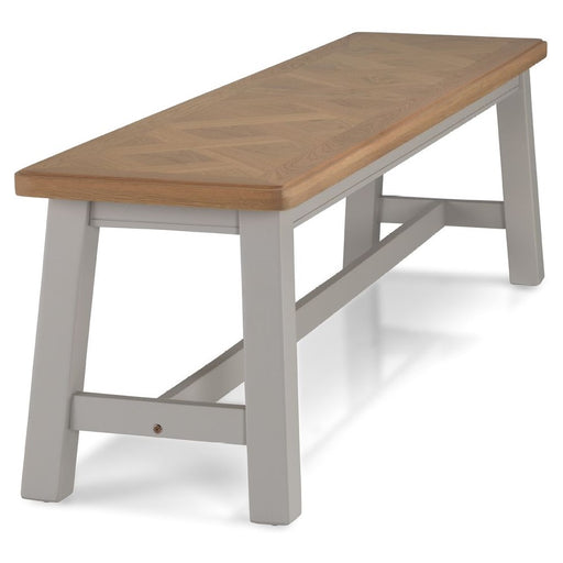 Sunbury Oak And Grey Painted Dining Bench - 160 cm