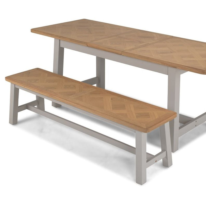 Sunbury Oak & Grey Painted Dining Bench - 160 cm - The Furniture Mega Store