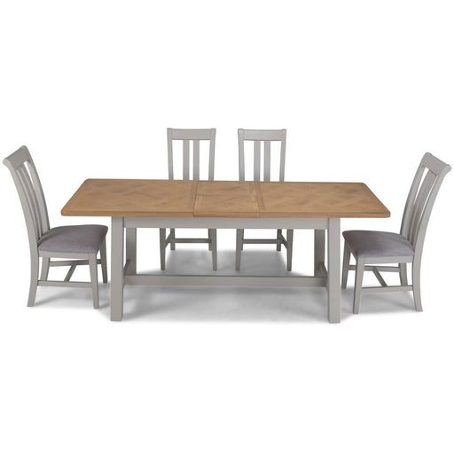 sunbury Oak And Grey Painted 1.6 Extending Table And 4 Chairs