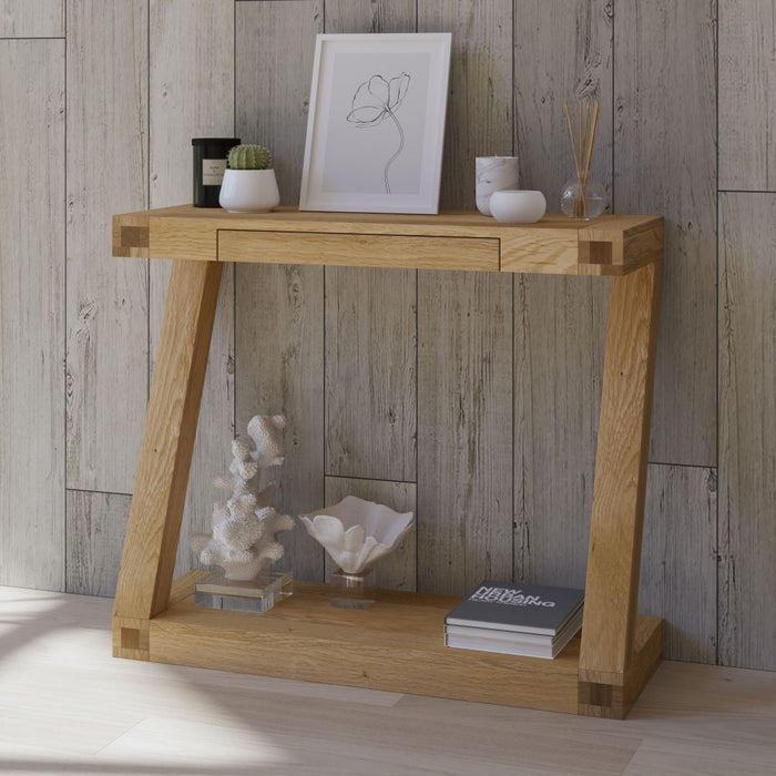 Solid Z Oak 1 Drawer Console Hall Table With Shelf