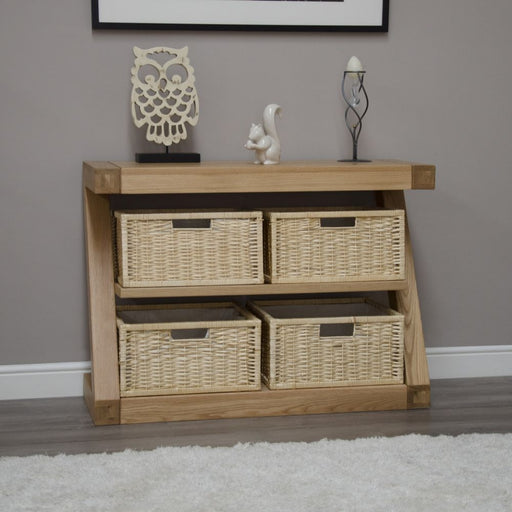 Solid Z Oak Basket Console Hall Table With Shelf