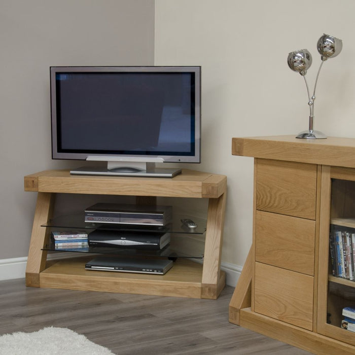 Solid Z Oak Corner TV Unit With 2 Glass Shelves