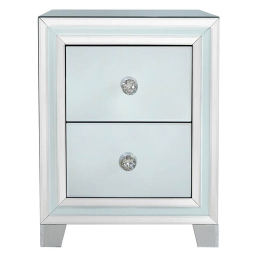 Ivy Grey Mirrored Compact Bedside Cabinet