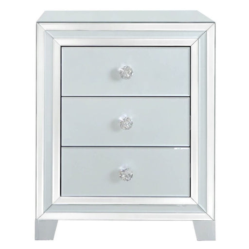 Ivy Grey Mirrored 3 Drawer Bedside Cabinet