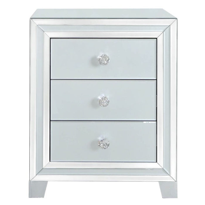 Ivy Grey Mirrored 3 Drawer Bedside Cabinet - The Furniture Mega Store