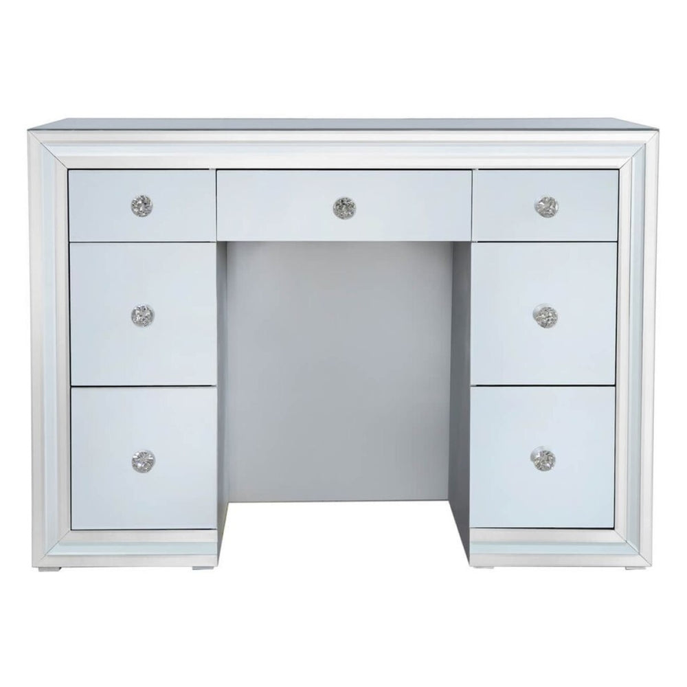 Ivy Grey Mirrored Double Pedestal Dressing Table - The Furniture Mega Store