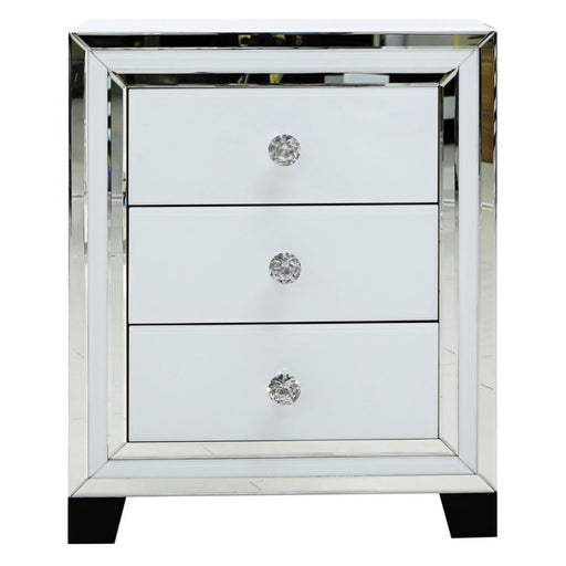 Ivy White Mirrored 3 Drawer Bedside Cabinet