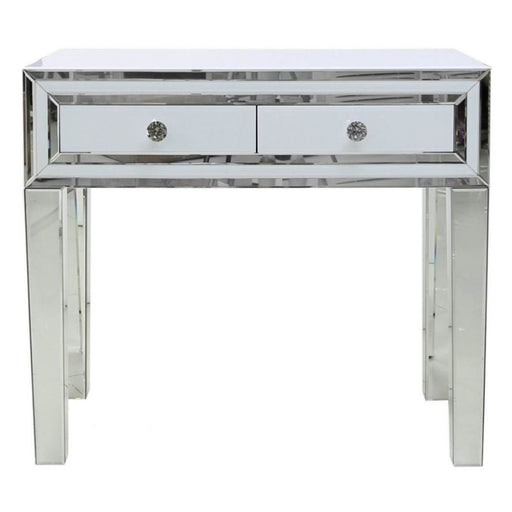 Ivy White Mirrored 2 Drawer Console Table - The Furniture Mega Store