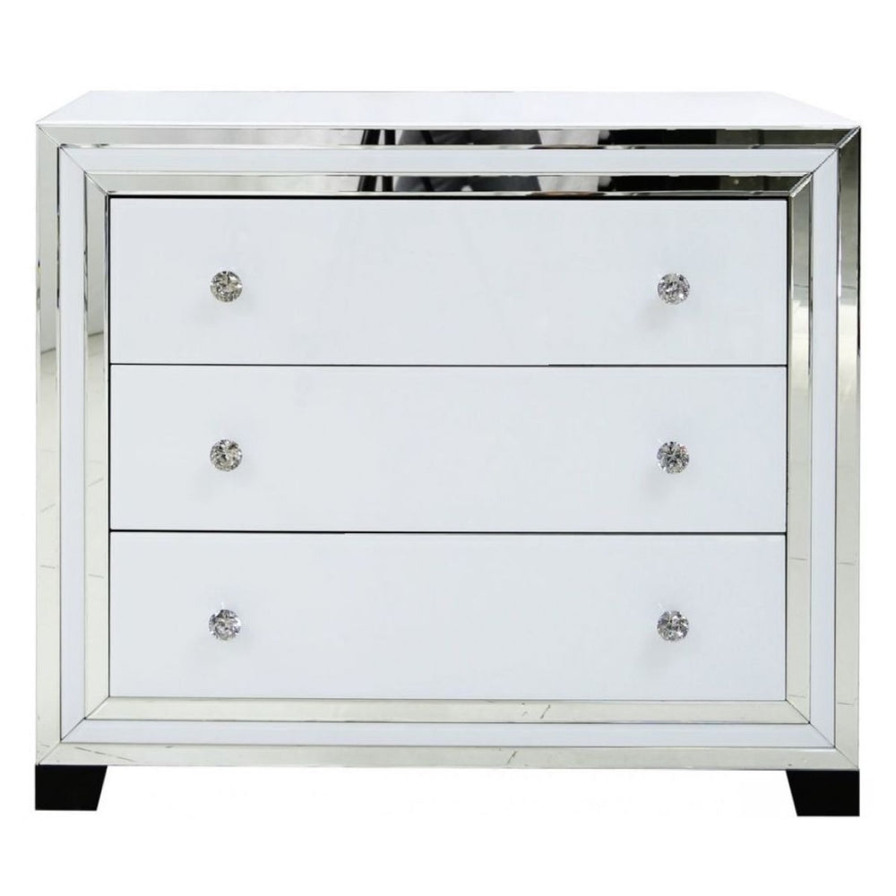 Ivy White Mirrored 3 Drawer Chest