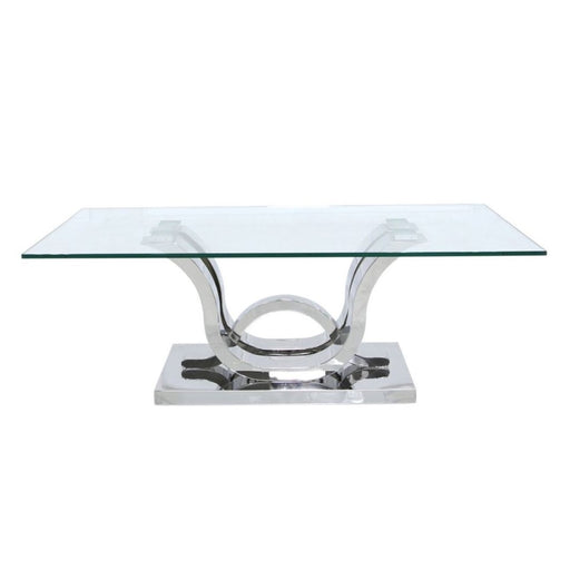 Tate Glass & Stainless Steel Coffee Table - The Furniture Mega Store