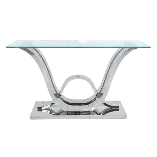 Tate Glass & Stainless Steel Console Table - The Furniture Megastore