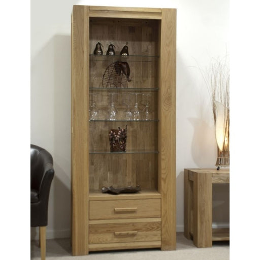 Trend Oak Tall 2 Drawer Bookcase - The Furniture Mega Store