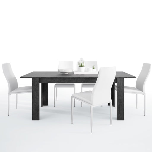 Stretto Extendable Dining table in Slate Grey & 4 White Faux Leather High Back Dining Chairs