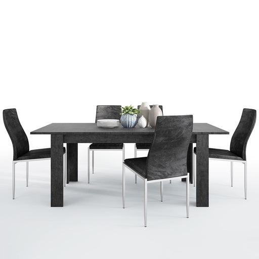 Stretto Extendable Dining table in Slate Grey & 4 Black Faux Leather High Back Dining Chairs