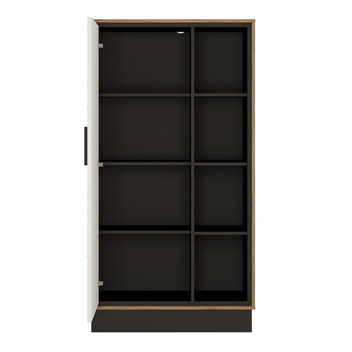 Brogeo Wide 1 door bookcase - walnut and dark panel finish - The Furniture Mega Store