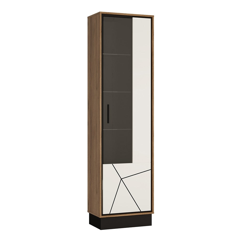 Brogeo Tall glazed display cabinet (RH) - walnut and dark panel finish