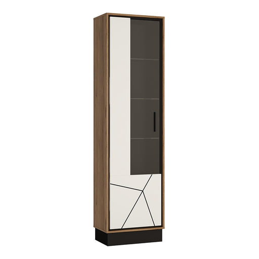 Brogeo Tall glazed display cabinet (LH) - walnut and dark panel finish
