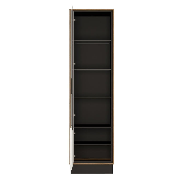Brogeo Tall glazed display cabinet (LH) - walnut and dark panel finish - The Furniture Mega Store