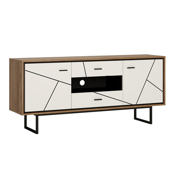 Brogeo 2 door 2 drawer TV unit - walnut and dark panel finish