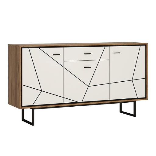 Brogeo 3 door 1 drawer sideboard - walnut and dark panel finish