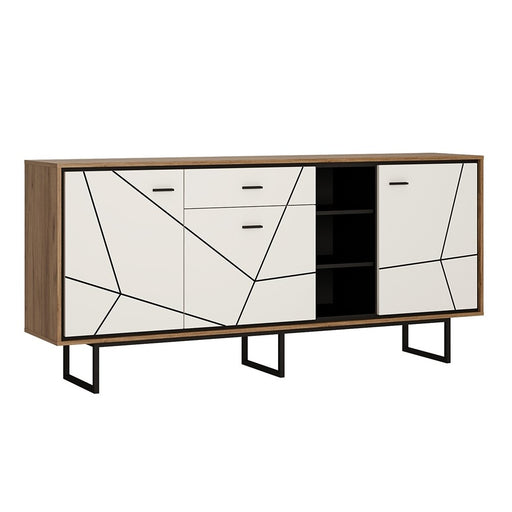 Brogeo 3 door 1 drawer wide sideboard - walnut and dark panel finish
