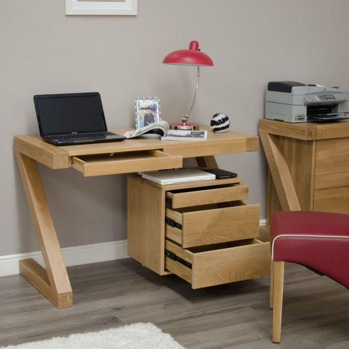 Solid Z Designer Oak Small Desk - The Furniture Mega Store