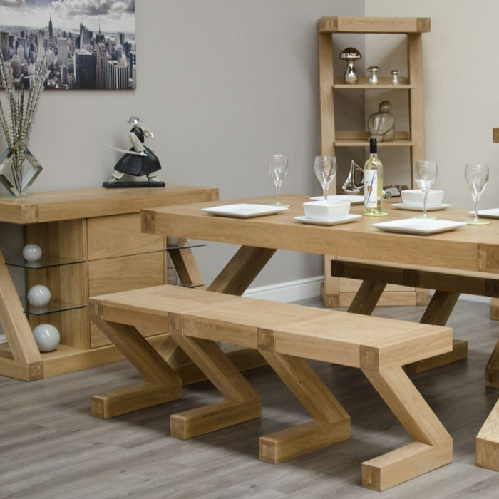 Solid Z Designer Oak Dining Set and 2 Benches