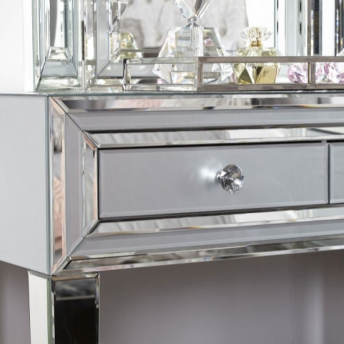Ivy Grey Mirrored 3 Drawer Dressing Table