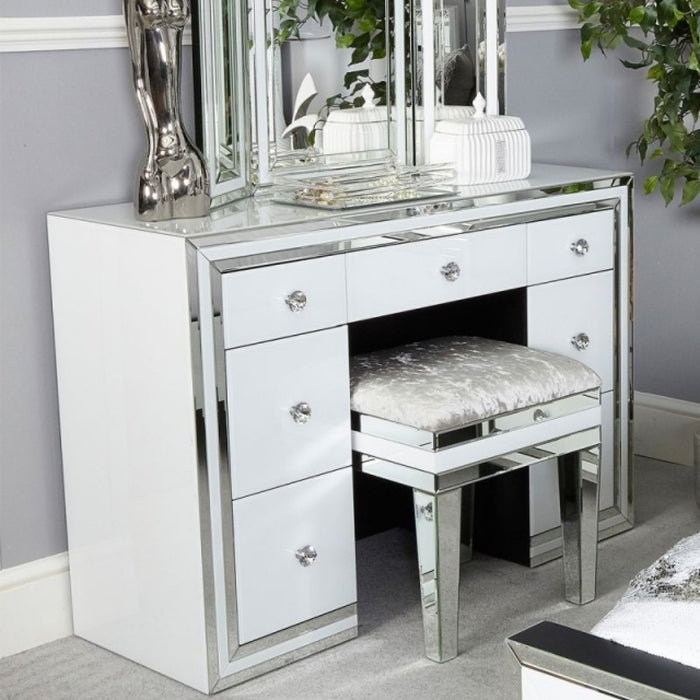 Ivy White Mirrored Double Pedestal Dressing Table