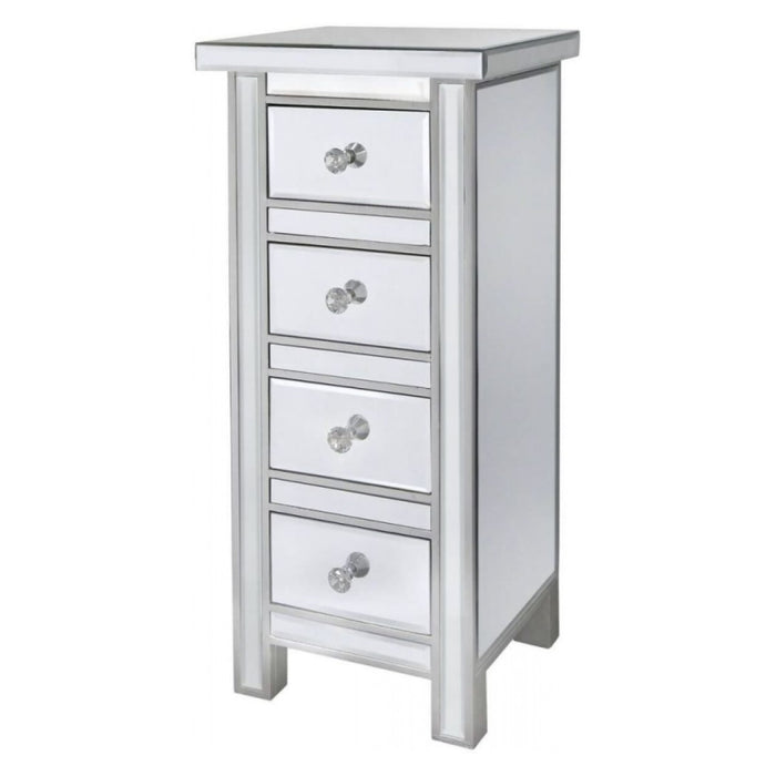 Divine Mirrored 4 Drawer Tallboy Chest