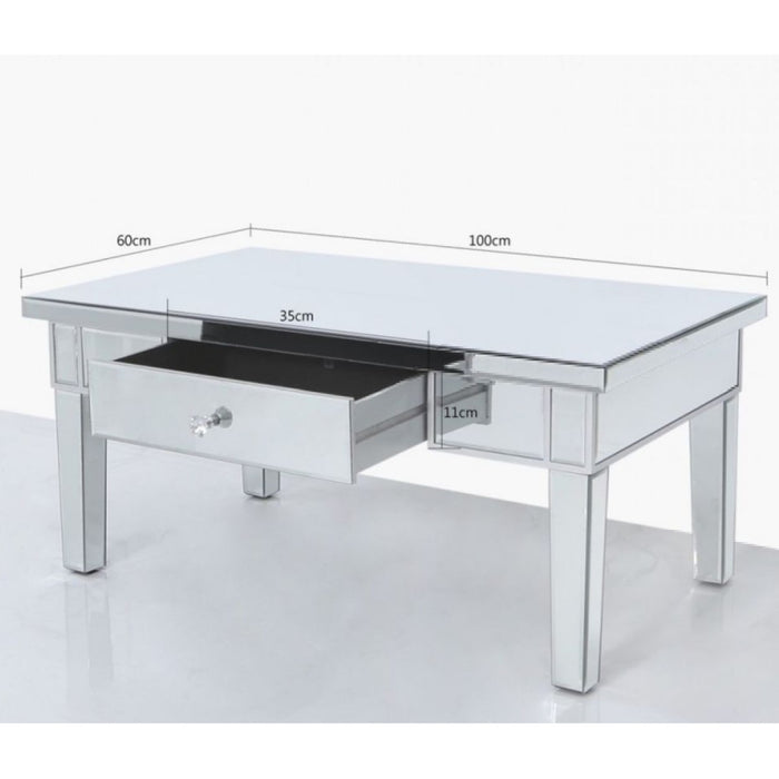 Classic Mirrored 1 Drawer Storage Coffee Table